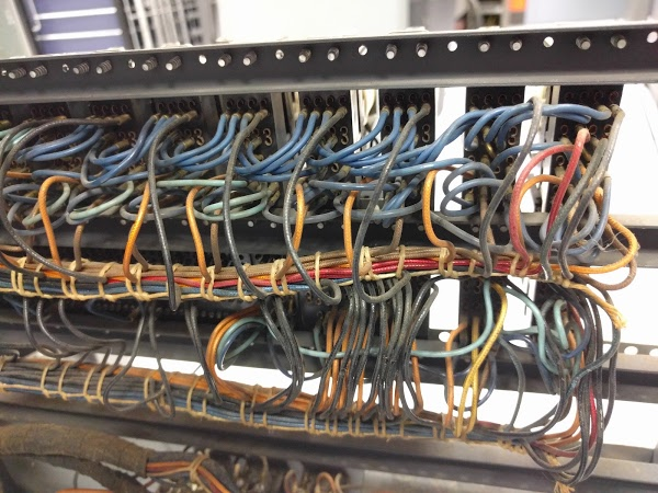 Wiring inside the IBM type 83 card sorter. This is the back of the relay panel.