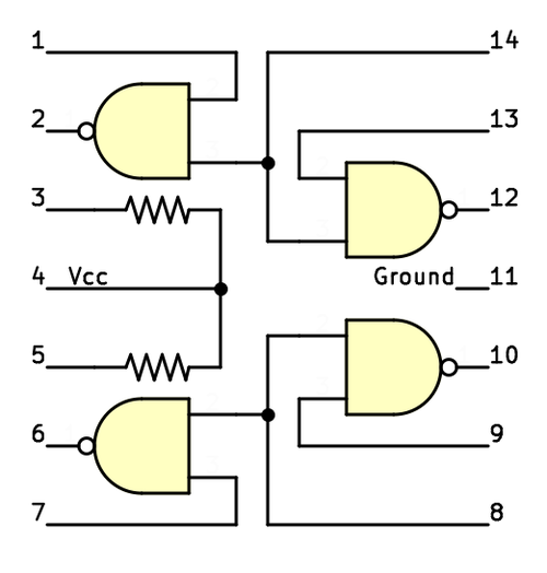Logic diagram of the Soviet 134ЛА8 (134LA8) integrated circuit, with pin numbers.