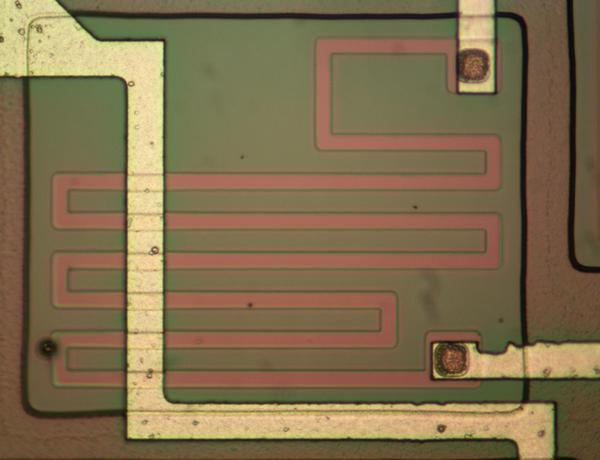 A resistor on the integrated circuit die.
