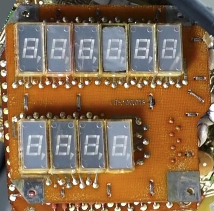 Board 10 holds the ten LED digits. Photo from Marc Verdiell.