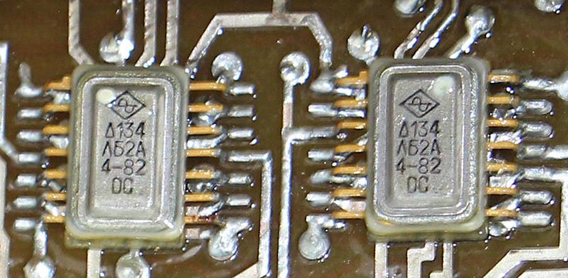 Two integrated circuits inside the clock.