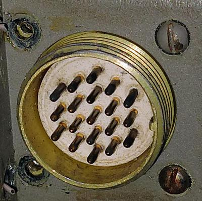 This 19-pin connector interfaces the clock to the spacecraft.