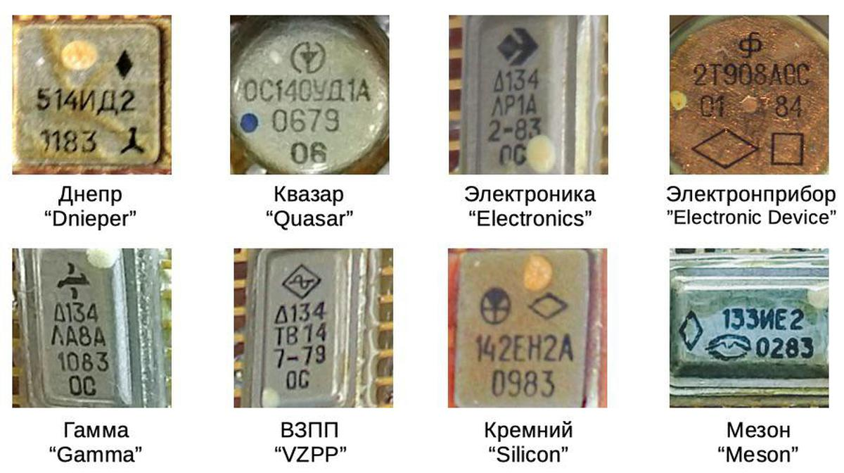 By looking up the logo on each chip, the manufacturer can be determined.