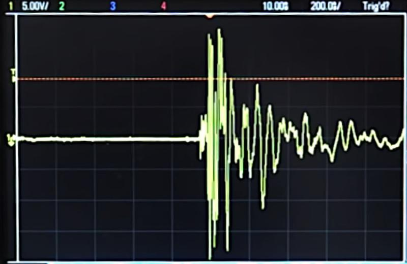 Oscilloscope trace pickingup electrical noise from the igniter over the air. Image from CuriousMarc's video.