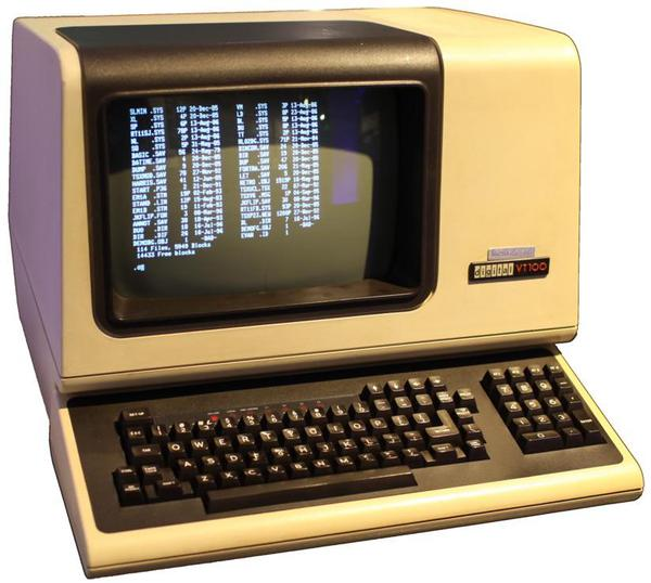 The DEC VT100 terminal had an 80×24 display. Over a million of them were sold. Photo from Jason Scott, (CC BY-SA 4.0).