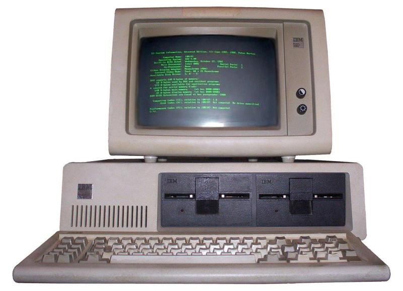 The IBM PC with an 80×25 display generated by the MDA (Monochrome Display Adapter) card. Photo from Boffy b (CC BY-SA 3.0).