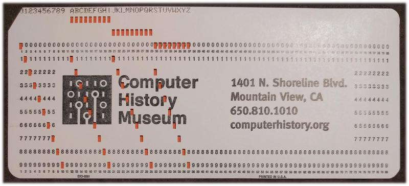 An IBM punch card holds 80 characters, printed along the top. The hole pattern in each column encodes the character.