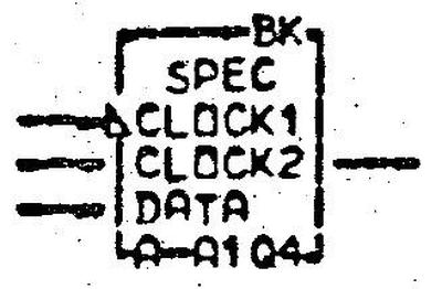 "Schematic symbol for the 480-bit shift register in the 3270. Inputs are data and the two-phase clock. ""SPEC"" indicates a special circuit. From the ALD, page MP151."