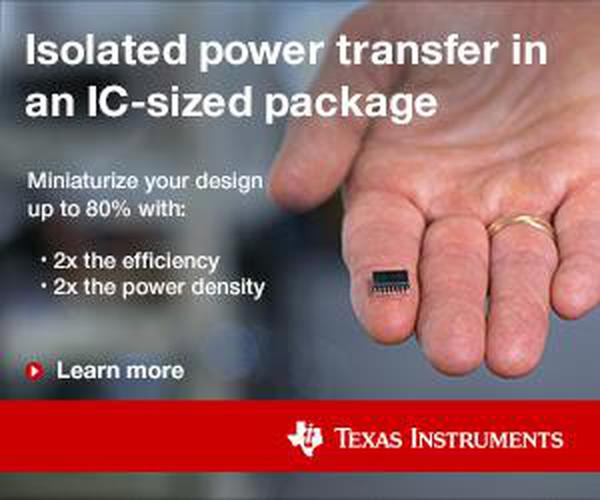 Texas Instruments' ad for the power transfer chip, showing how small the chip is.