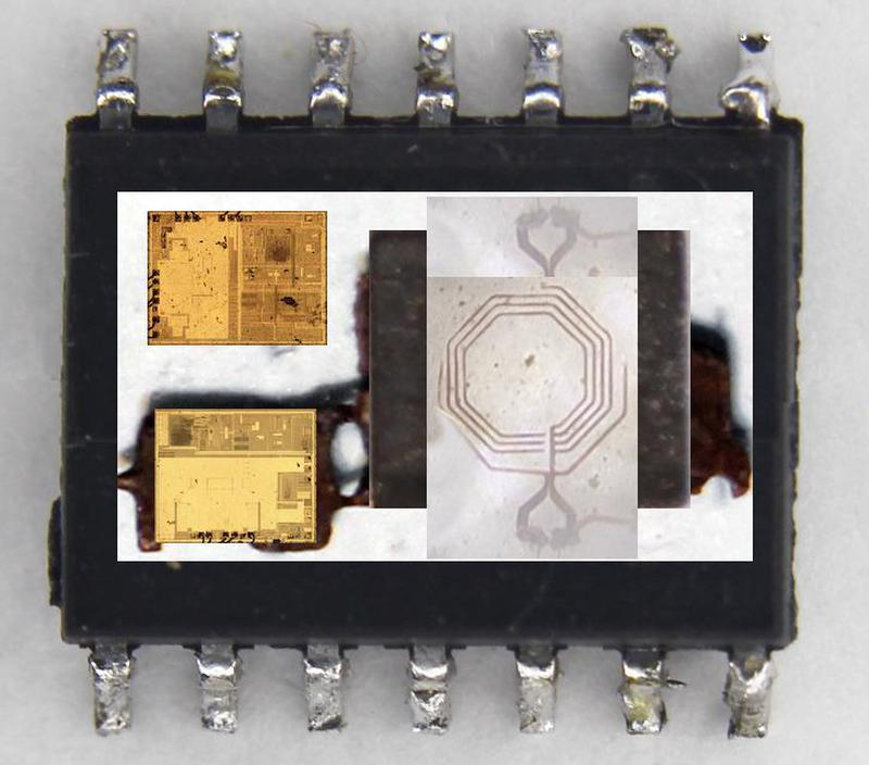 A representation of the chip's internals. This is a composite of the various pieces. The second ferrite plate would go over the transformer coils. The dies are probably upside-down in the actual chip. The chip measures 7.5mm×10.3mm and 2.7mm thick.