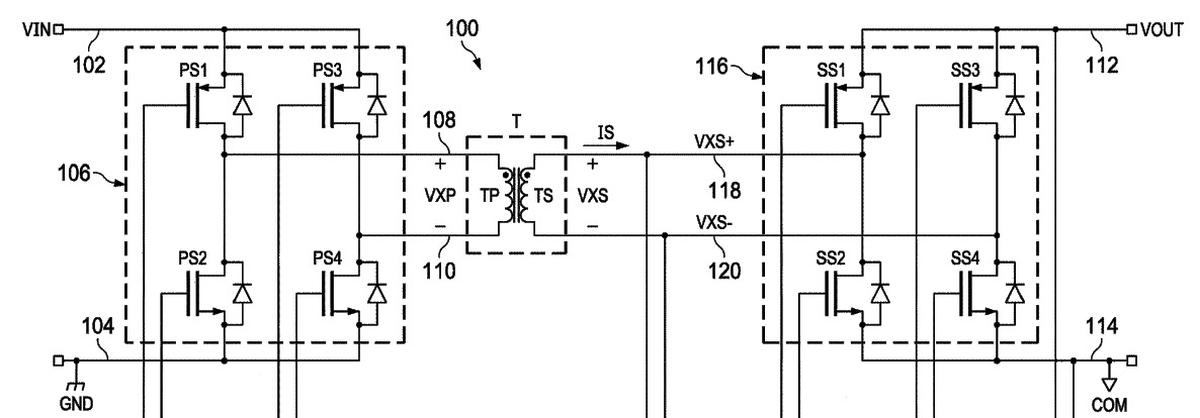 Diagram from  patent 10122367, Isolated phase-shifted DC to DC converter.