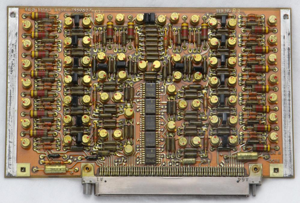 "The AGO interface board; the ""AGO"" label is at the top left. Note the different keying on the half-nuts on either side of the connector."