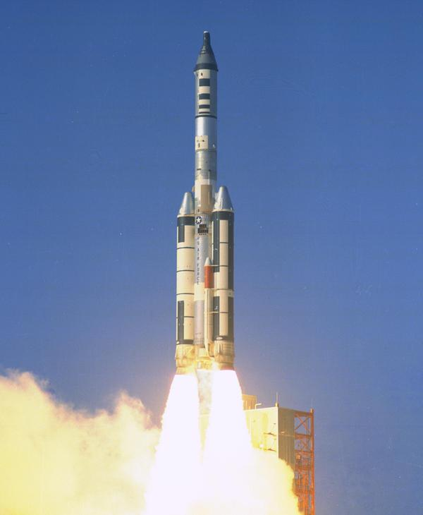 Titan IIIC launch with an unmanned Gemini capsule, as part of the MOL project (1966).  Photo from NASA.
