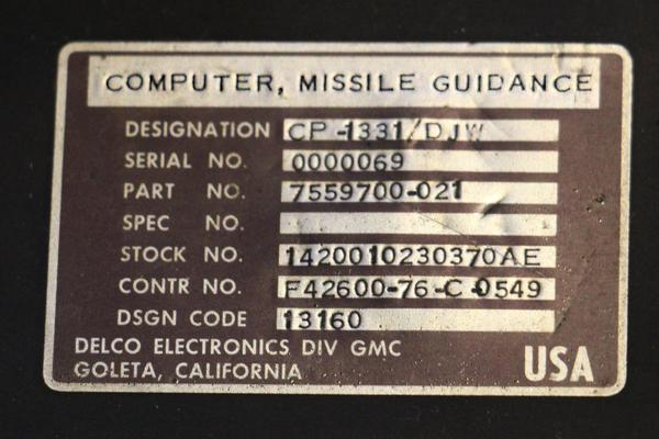 The label from the Titan missile guidance computer.