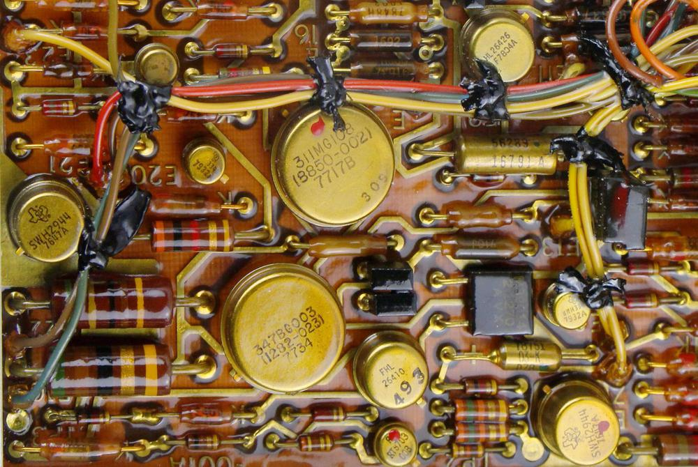 Closeup of a board in the power supply.