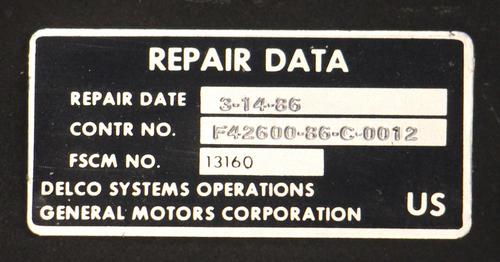 The repair label on the computer.