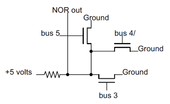 Schematic of a 3-input NOR gate in the Z-80.