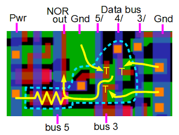Implementation of a 3-input NOR gate in the Z-80 chip.