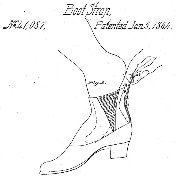 Example of a boot strap at the heel of a boot, from patent 41087, not the first boot strap patent.