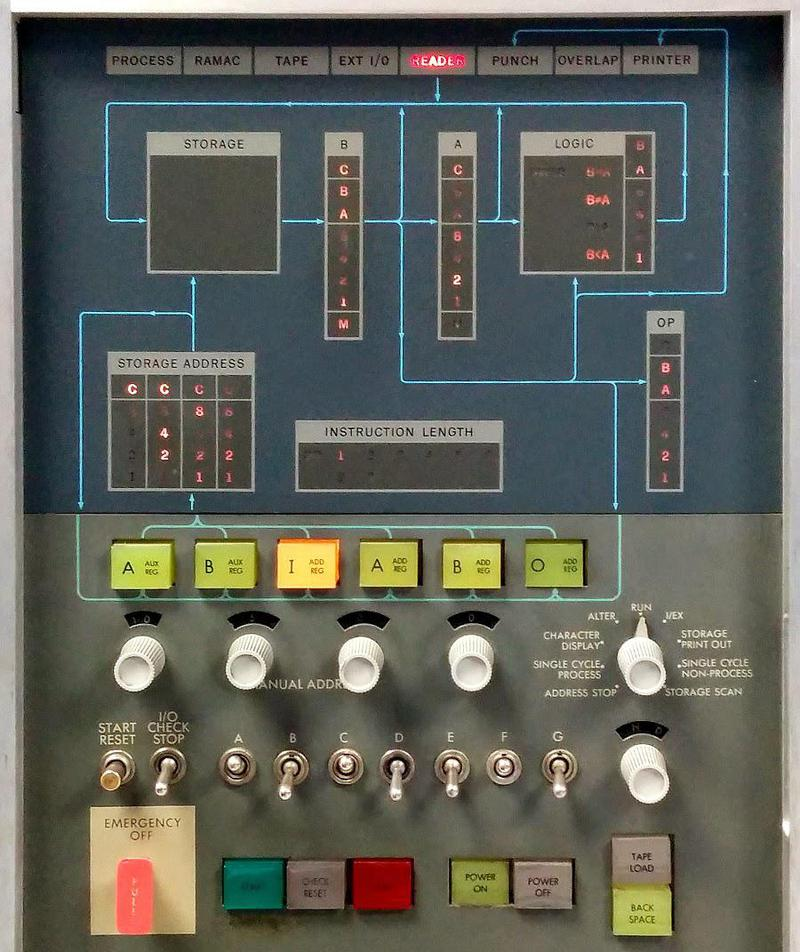 "Console of the IBM 1401 computer. The ""Tape Load"" button is in the lower right."