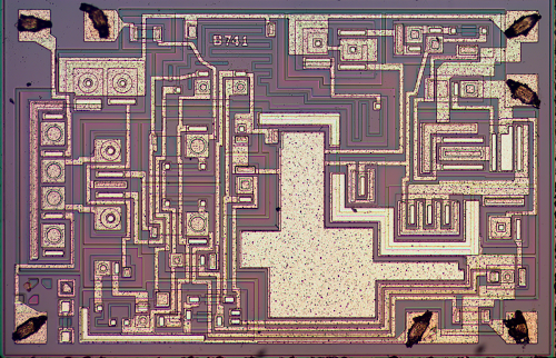Die photo of the 741 op amp