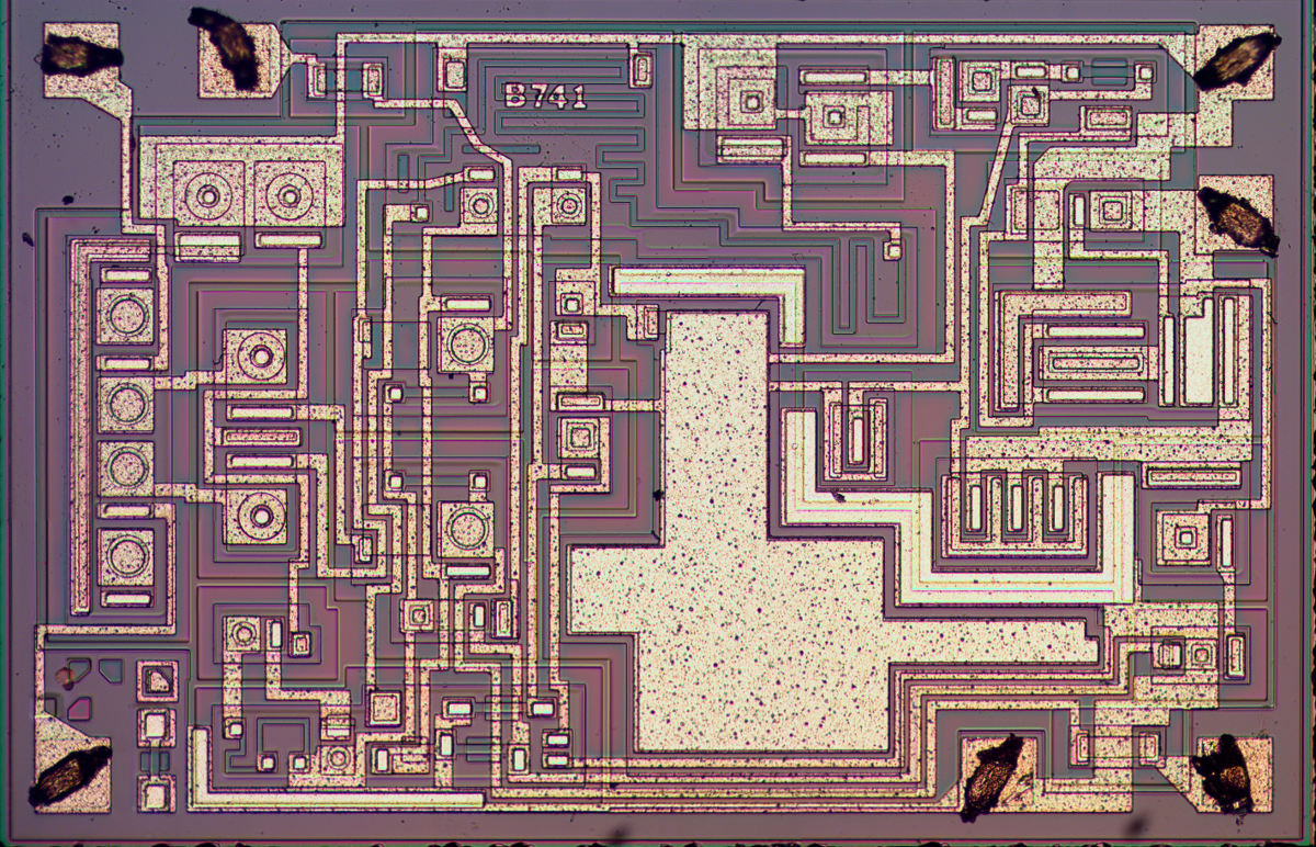Understanding Silicon Circuits Inside The Ubiquitous 741 Op Amp Circuit Uses Power Transistors Pair Of 5 X Die Photo