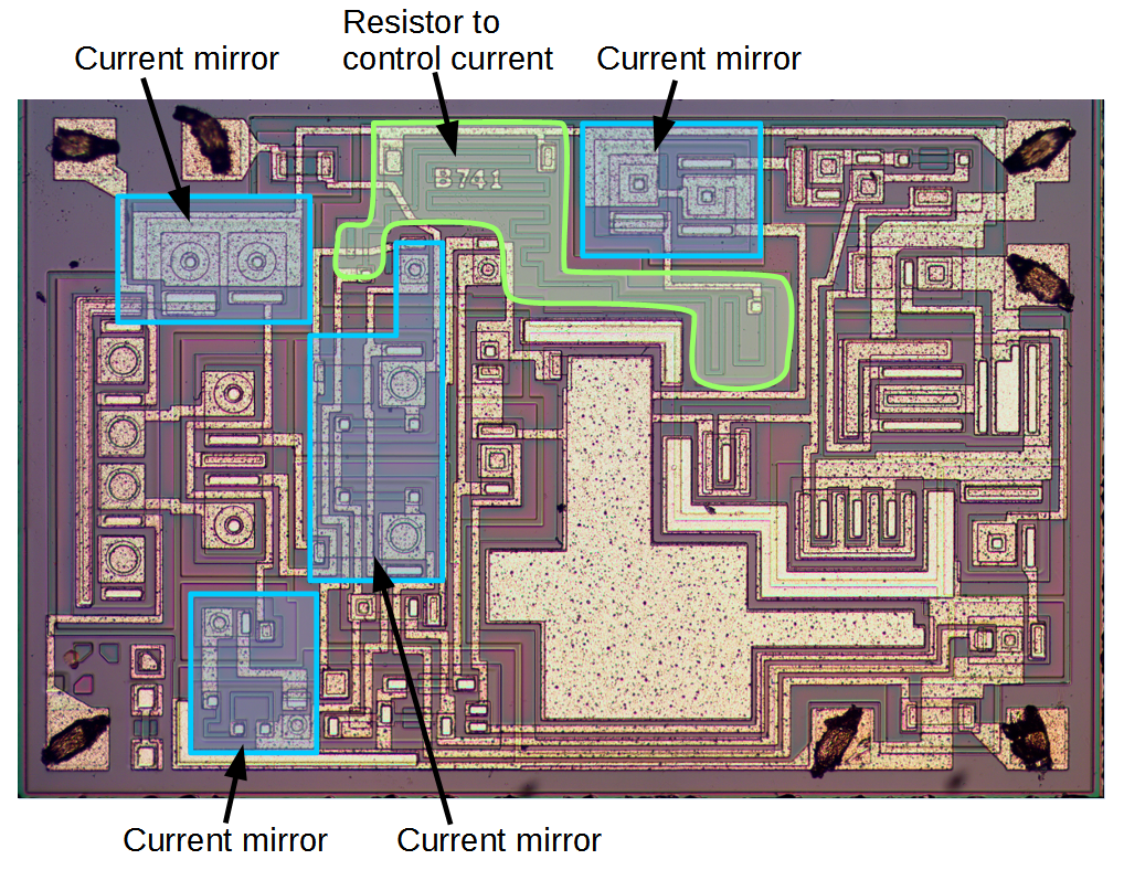 Understanding Silicon Circuits Inside The Ubiquitous 741 Op Amp Logic 7 Diagram Die For Showing Current Mirrors Along With Resistor