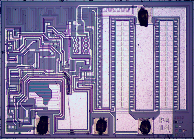 Die photograph of a 7805 voltage regulator.
