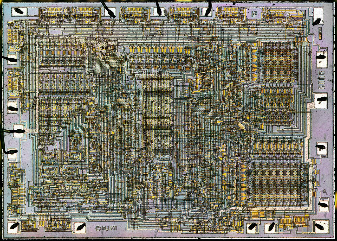 Die photo of the 8008 microprocessor. (Click for a larger image.) The initials HF appear on the top right for Hal Feeney, who did the chip's logic design and physical layout.