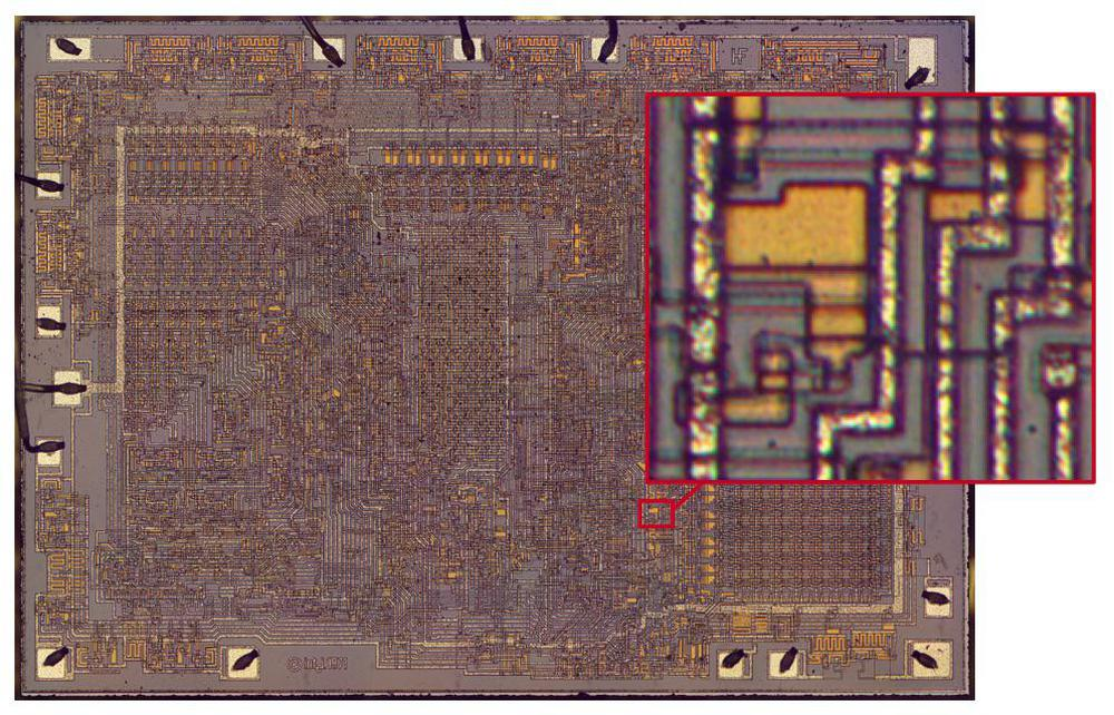 Closeup of a bootstrap load circuit in the 8008.