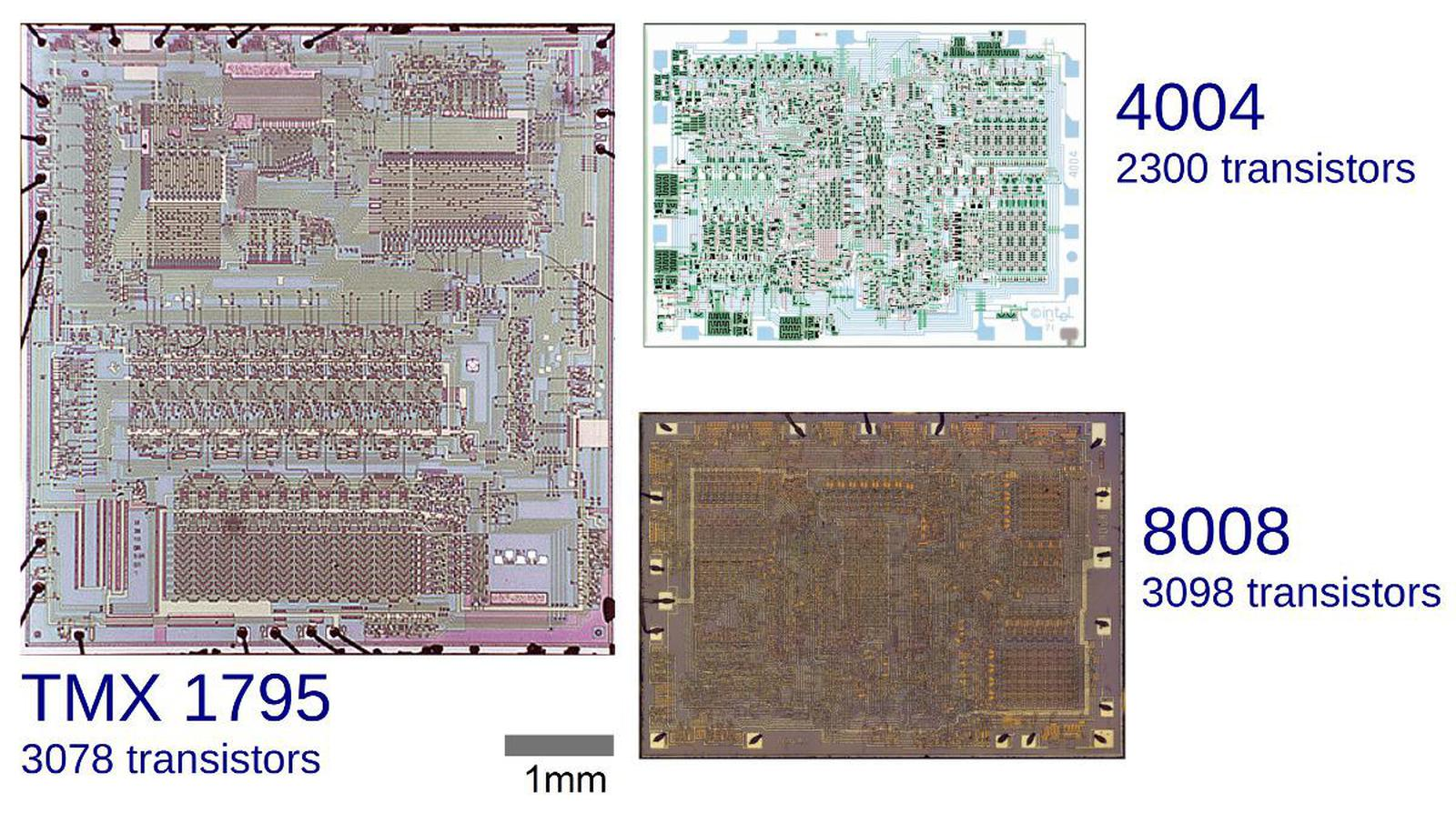 Comparative die sizes of the TMX 1795, 4004 and 8008 microprocessors. Note that the 4004 and 8008 are nearly the same size, while the TMX 1795 is more than twice as large. The top third of the TMX 1795 is instruction decoding and control logic, the middle is the 8-bit ALU, and the bottom is storage (stack and registers). TMX 1795 die photo courtesy of Computer History Museum.