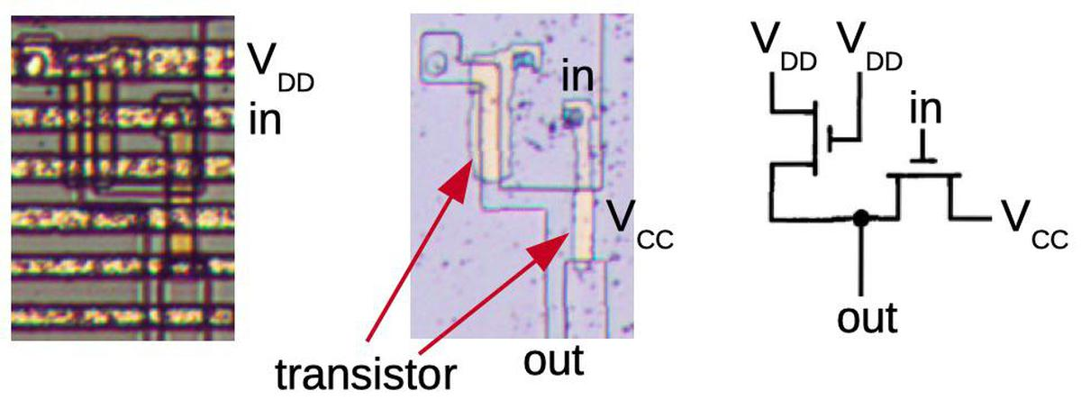 How an inverter appears in the 8008 processor.
