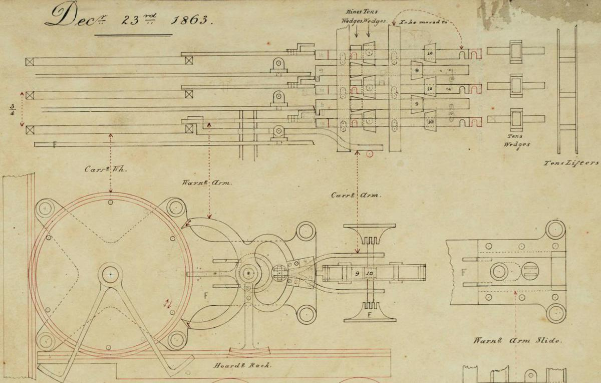 "Detail of Babbage's diagram of the ""anticipating carriage"" that computes carries in the Analytical Engine. I'm not sure how this mechanism works. From The Babbage Papers at the Science Museum, London, CC BY-NC-SA 4.0."
