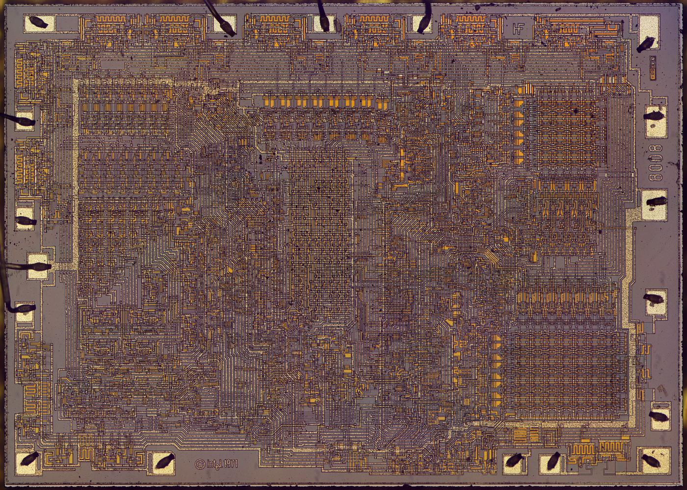 Die photo of the Intel 8008 processor. Click for a larger version.