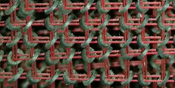 Closeup of the core memory in the IBM 1401 mainframe, showing the tiny ferrite cores.