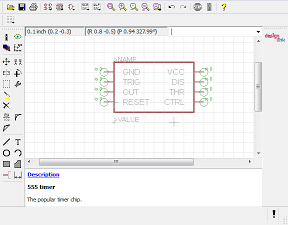 Creating a custom Symbol for an IC using Eagle CAD. The pins have been labeled.