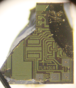 Piece of the TL431 die, photographed through a microscope.