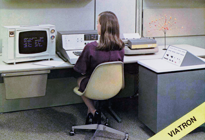 The Viatron System 21: color display, terminal keyboard, 'robot' printer, and computer. From Viatron brochure, via bitsavers.org.