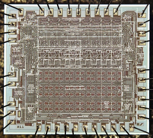 Die photo of Four-Phase AL1 arithmetic-logic chip. Courtesy of Computer History Museum.