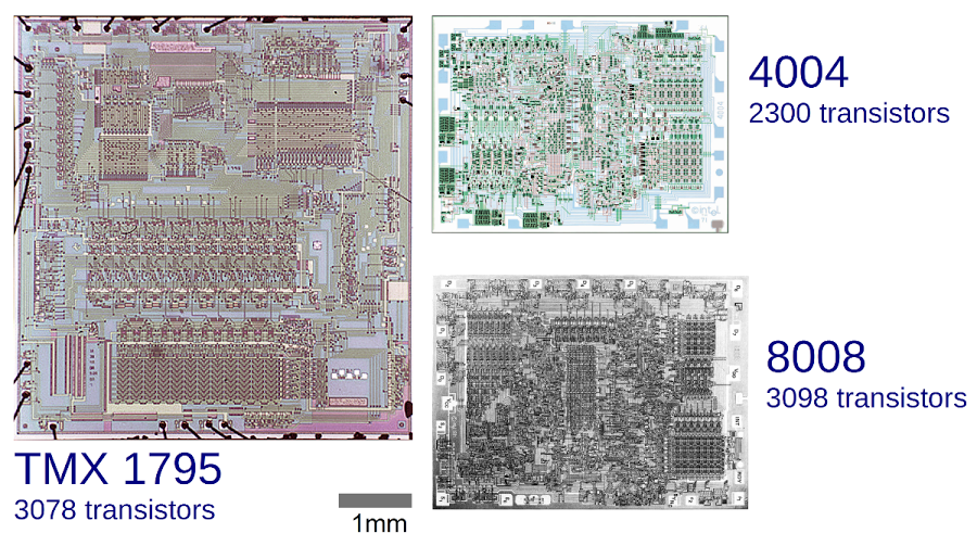 Comparative die sizes of the TMX 1795, 4004 and 8008 microprocessors. Note that the 4004 and 8008 are nearly the same size, while the TMX 1795 is more than twice as large.