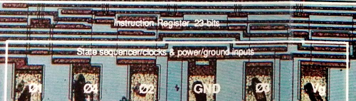 Detail of AL1 die photo showing fictional 'Instruction Register 23 bits' label.