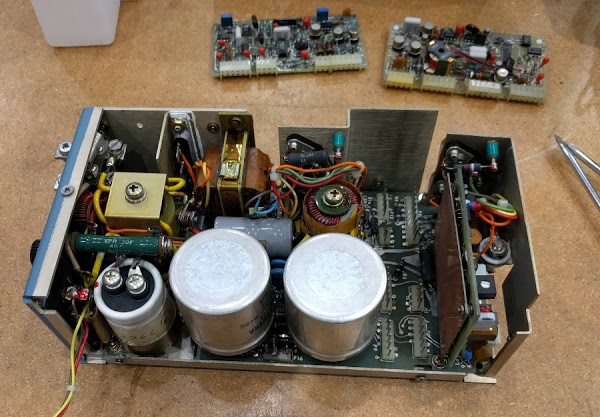 Switching power supply from the Xerox Alto computer. Two of the control boards have been removed and are visible at back.