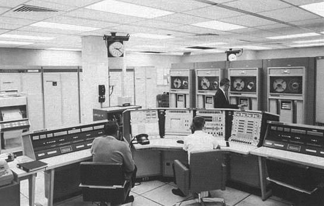 """""""An ACE Station with twin Control Data computers."""" From Computers in Spaceflight."""