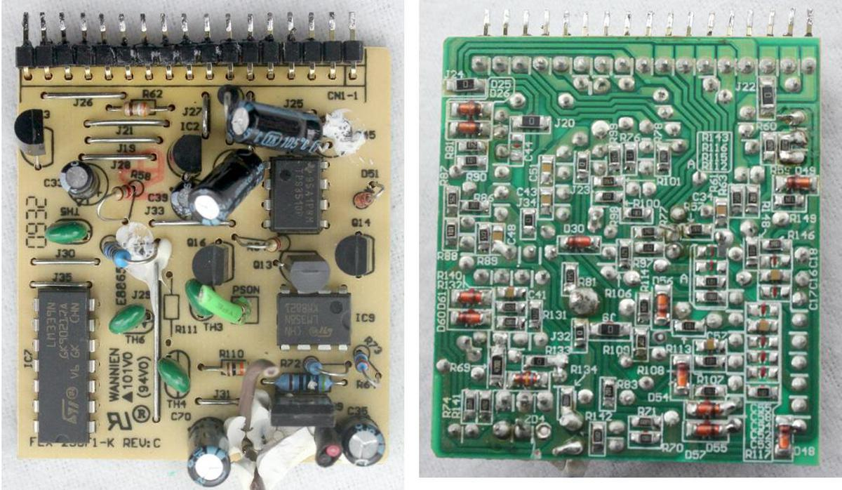 """The control board has through-hole components on top and the underside is covered with tiny surface-mount components. Note the """"zero-ohm"""" resistors marked with 0, used as jumpers."""