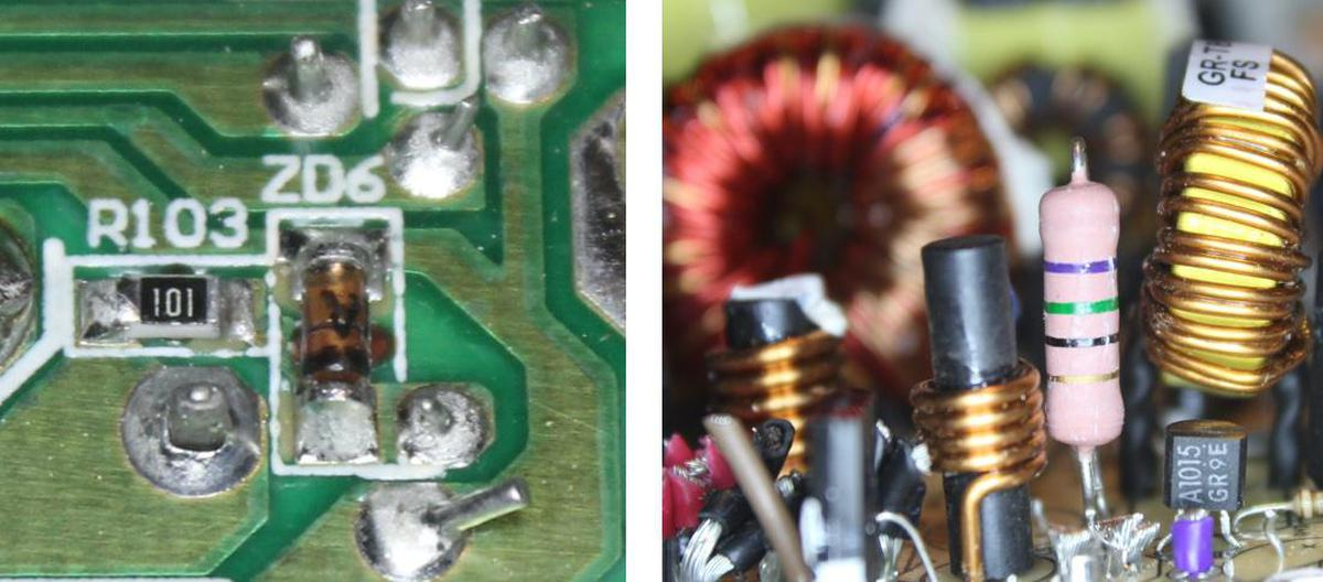 """The -12 V supply is regulated by a tiny Zener diode """"ZD6"""", about 3.6 mm long, on the underside of the circuit board. The associated power resistor and transistor """"A1015"""" are on the top side of the board."""