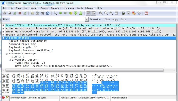 A new block in Bitcoin, as seen in Wireshark.