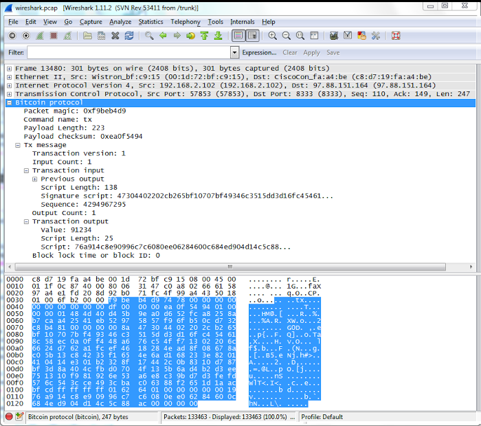 A transaction uploaded to Bitcoin, as seen in Wireshark.