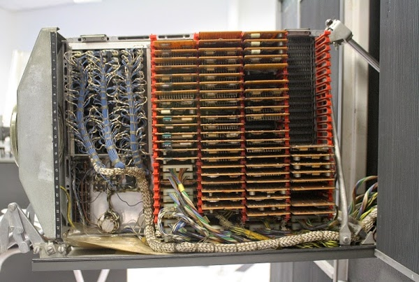 Cards and wires inside an IBM 1401 mainframe.