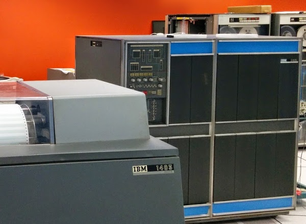 Line printer, IBM 1401 mainframe, and tape drives at the Computer History Museum.