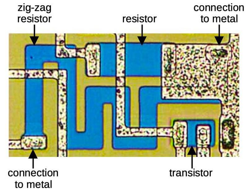 Two resistors as they appear on the die.